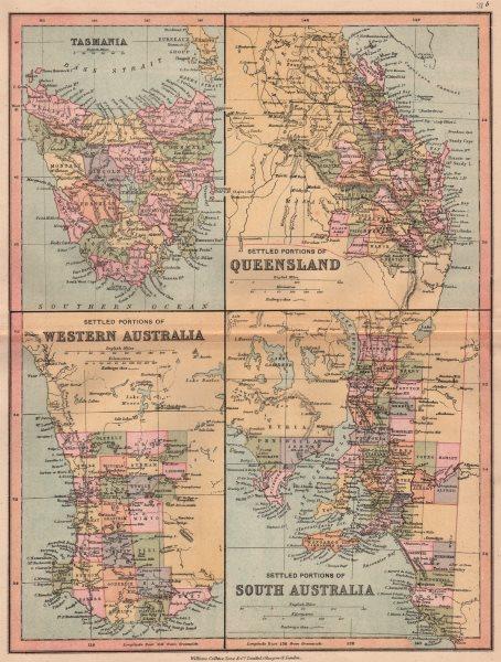 AUSTRALIA.Tasmania.Settled Queensland Western/South Australia.COLLINS 1880 map