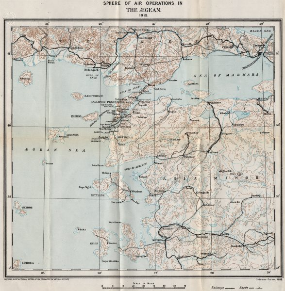 Associate Product FIRST WORLD WAR.Gallipoli Dardanelles.Air Operations in the Aegean,1915 1928 map