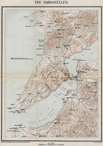 Associate Product FIRST WORLD WAR. The Dardanelles. Minefields. Military map 1928 old