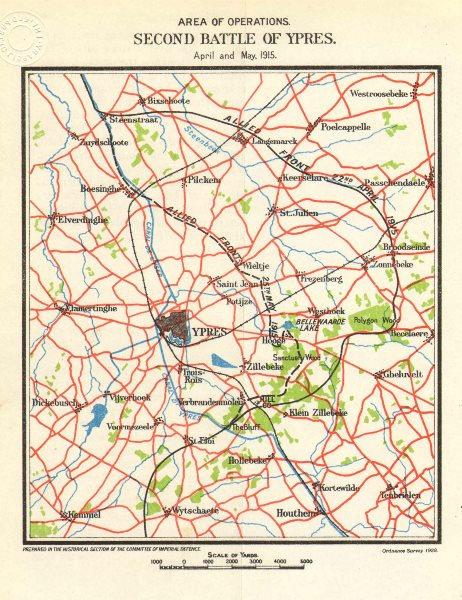 Associate Product WW1 WESTERN FRONT. Second battle of Ypres, April-May 1915. Allied front 1928 map