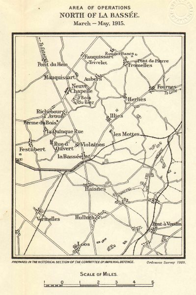 Associate Product WW1 WESTERN FRONT.Area of operations north of La Bassée,March-May 1915 1928 map