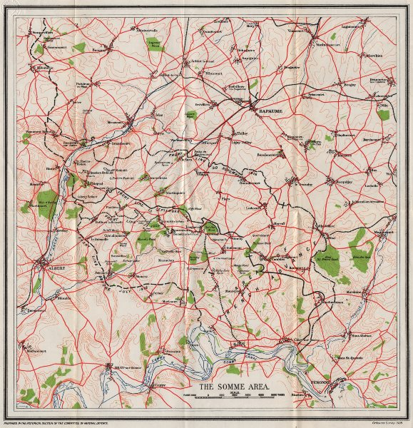 Associate Product WW1 WESTERN FRONT. The Somme Area. Front line July-November 1916 1928 old map