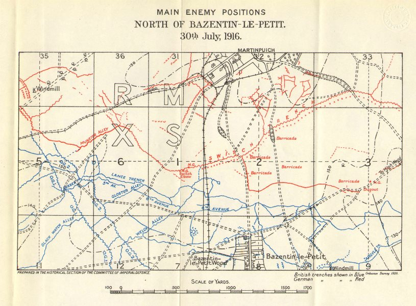 Associate Product WW1 WESTERN FRONT. Somme. Trenches. Bazentin-le-Petit. 30 July 1916 1928 map