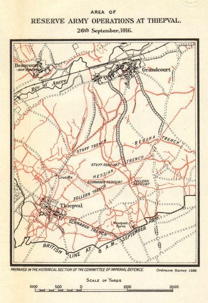 Associate Product WW1 WESTERN FRONT. Somme. Reserve Army trenches Thiepval 26 Sept 1916 1928 map