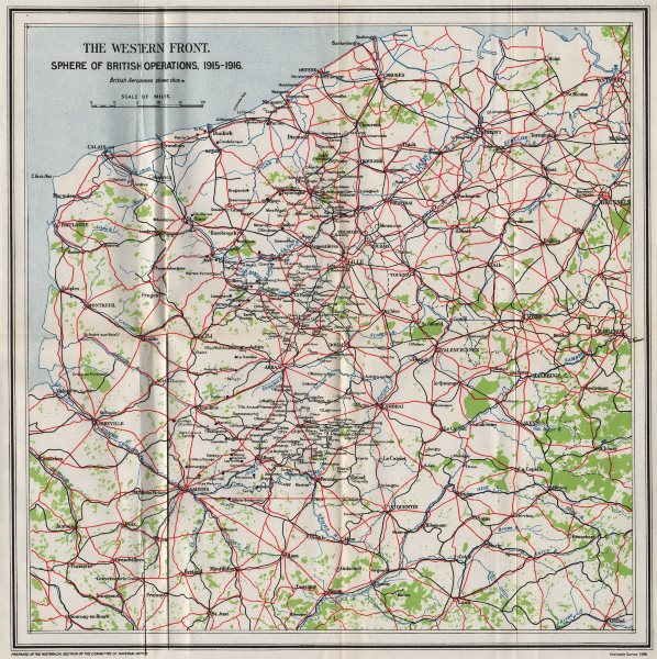 Associate Product WW1 WESTERN FRONT. Sphere of British operations, 1915-1916 1928 old map