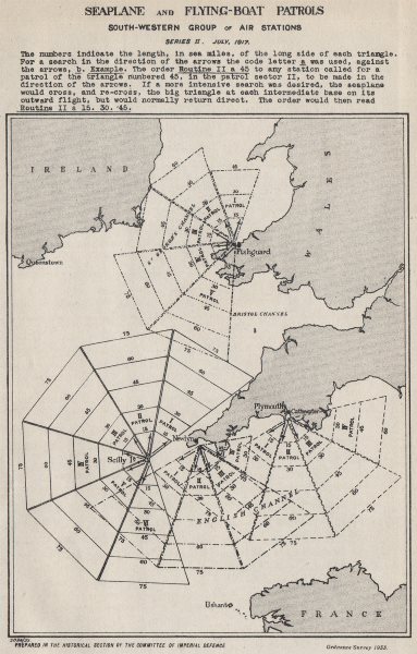 Associate Product WW1.Seaplane flying-boat patrols.Plymouth Fishguard Scilly Newlyn 1917 1934 map