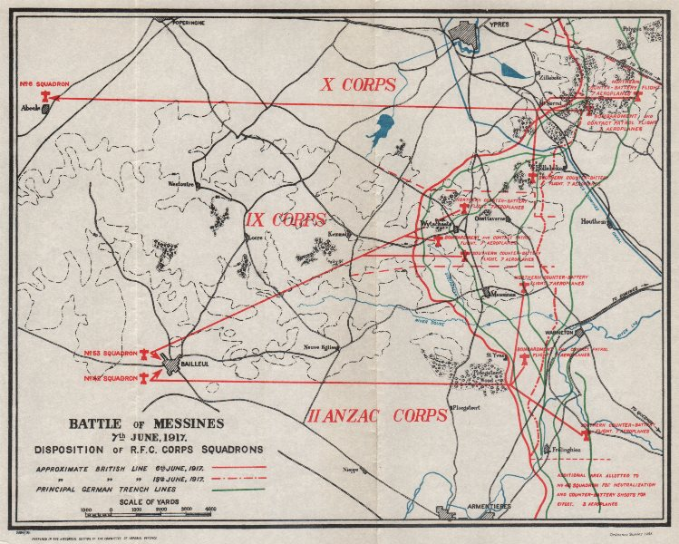 Associate Product WW1 WESTERN FRONT. Battle of Messines June 1917. Royal Flying Corps 1934 map