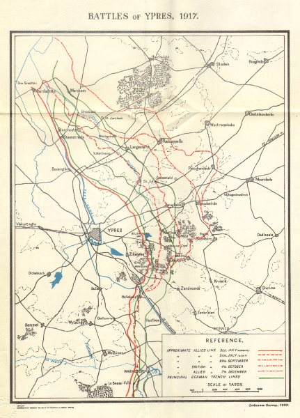 Associate Product WW1 WESTERN FRONT. Battles of Ypres, July-December 1917. Trench lines 1934 map