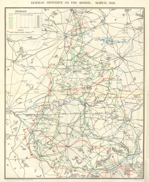 Associate Product WW1 WESTERN FRONT. German offensive on the Somme, March 1918 1934 old map