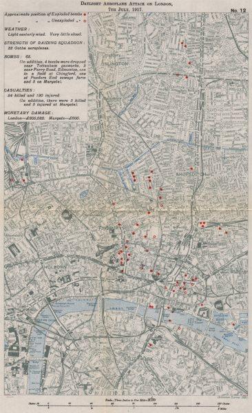 Associate Product FIRST WORLD WAR.Daylight Aeroplane attack on London,7th July 1917.Bombs 1935 map