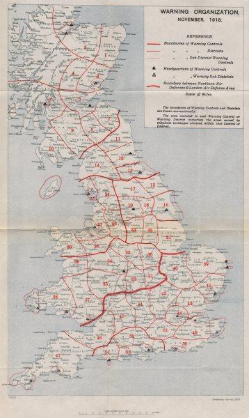 Associate Product FIRST WORLD WAR. United Kingdom Warning Organization, November 1918 1935 map
