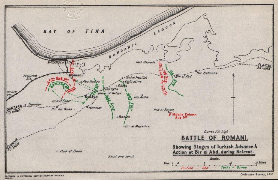 Associate Product FIRST WORLD WAR. Battle of Romani. Egypt. British & Turkish positions 1935 map