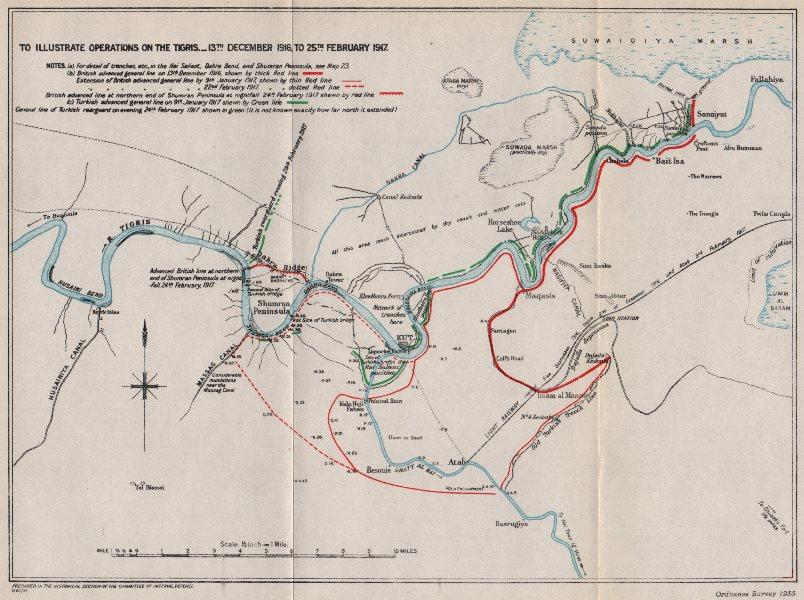 Associate Product WW1 MESOPOTAMIA CAMPAIGN. Maude's Tigris offensive, Dec 1916-Feb 1917 1935 map