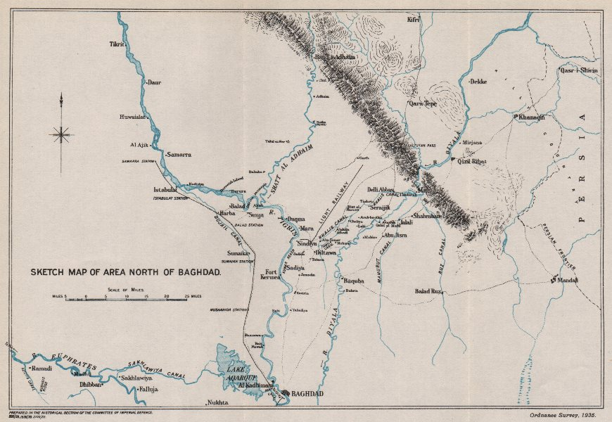 Where Is Mesopotamia On A World Map.First World War Sketch Map Of Area North Of Baghdad Mesopotamia