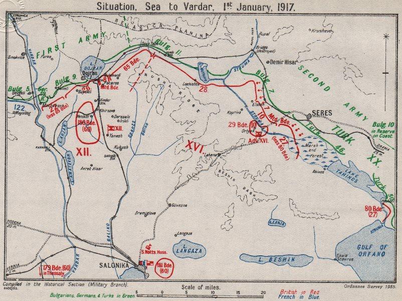 Associate Product FIRST WORLD WAR. Macedonian front. 1st January 1917. Thessaloniki 1935 old map