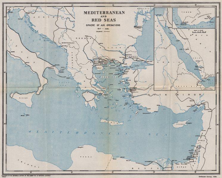 Associate Product FIRST WORLD WAR. Mediterranean Aegean Red Seas. Air Operations 1917-18 1935 map