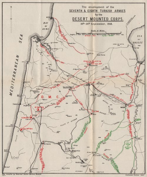 Associate Product FIRST WORLD WAR.Battle of Megiddo 1918.Turkish 7/8th armies surrounded 1937 map