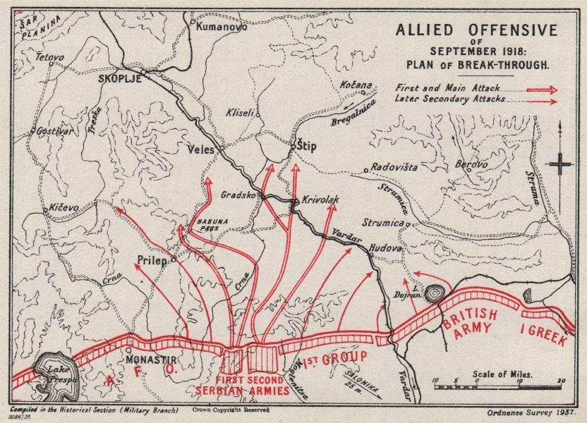 Associate Product FIRST WORLD WAR. Vardar Offensive, September 1918. Macedonia 1937 old map