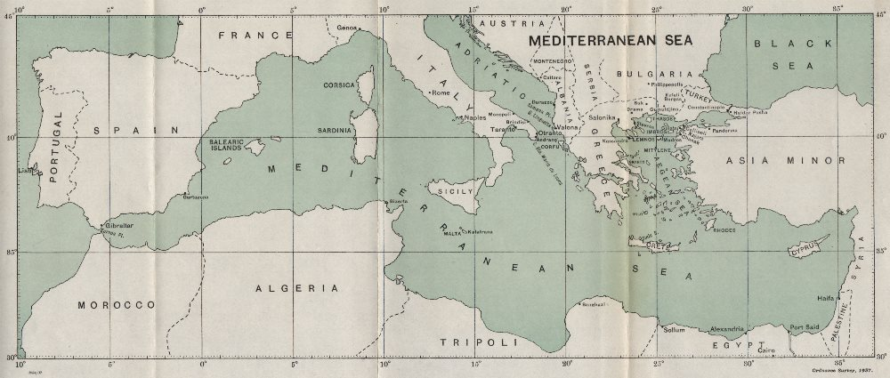 Associate Product FIRST WORLD WAR. Mediterranean/Aegean Sea. Theatres of operations 1937 old map