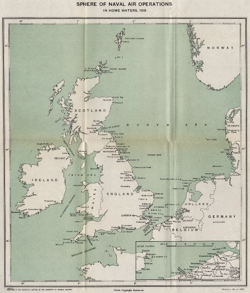 Associate Product FIRST WORLD WAR. Sphere of Naval Air operations in home waters, 1918 1937 map
