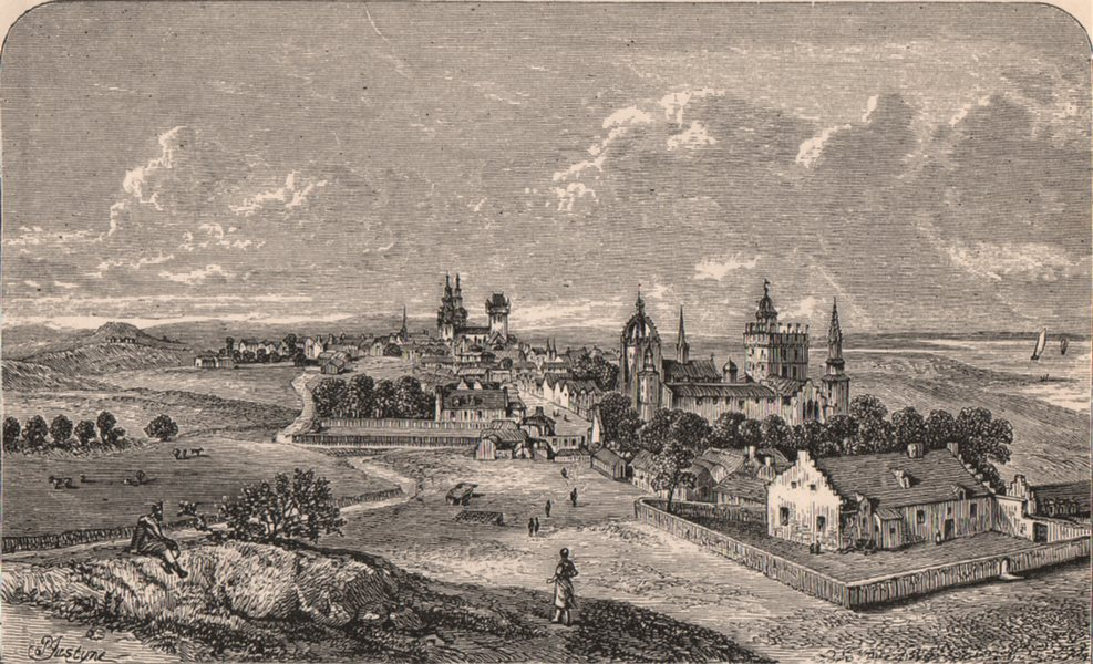 Associate Product OLD ABERDEEN. View in 1693 from Slezer's Theatrum Scotice. Scotland 1885 print