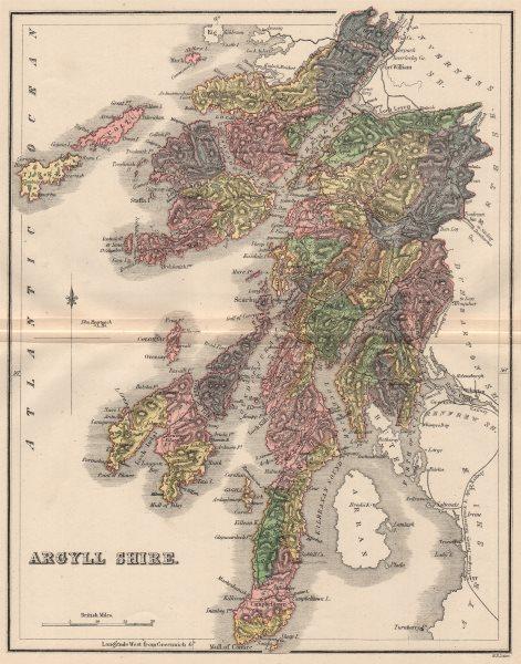 Associate Product ARGYLLSHIRE. Antique county map. Parishes. Inverary. Scotland. LIZARS 1885