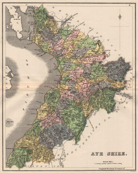 Associate Product AYRSHIRE. Antique county map. Parishes. Ayr Kilmarnock. Scotland. LIZARS 1885