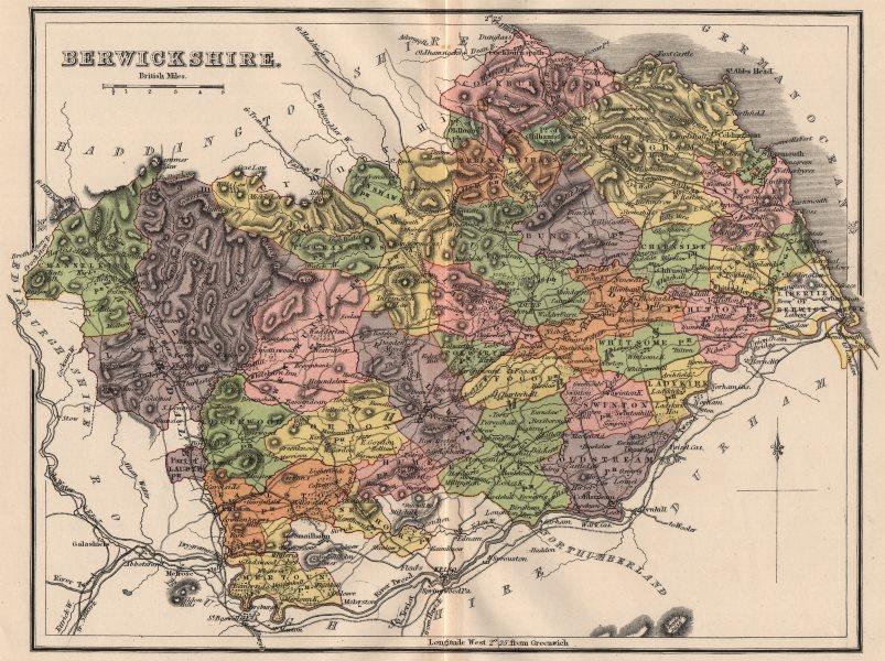 Associate Product BERWICKSHIRE. Shows Berwick-on-Tweed as Scottish.County map.Parishes.LIZARS 1885