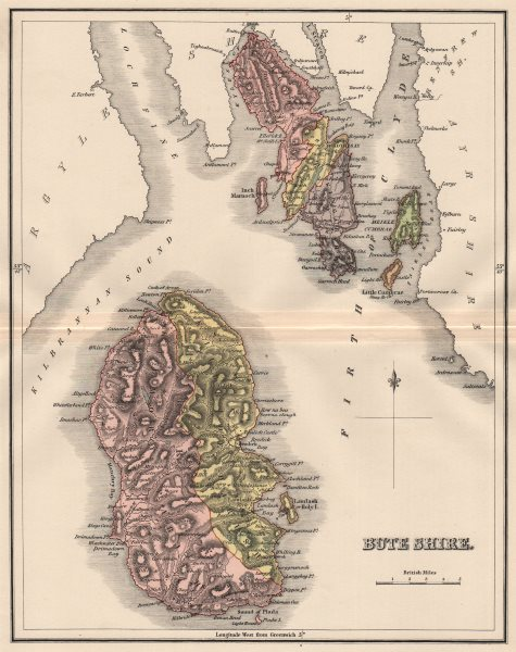 Associate Product BUTESHIRE. County of Bute. Isle of Arran. Rothesay. Parishes. LIZARS 1885 map