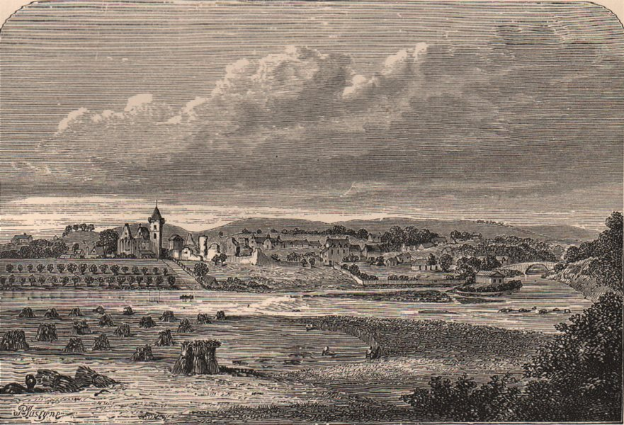 Associate Product DUNBLANE. View in c1693 from Slezer's Theatrum Scotice. Scotland 1885 print
