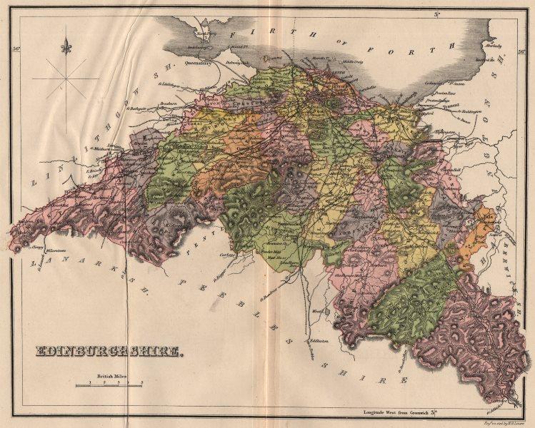"Associate Product MIDLOTHIAN. ""Edinburgh Shire"" county map with parishes. Scotland. LIZARS 1885"