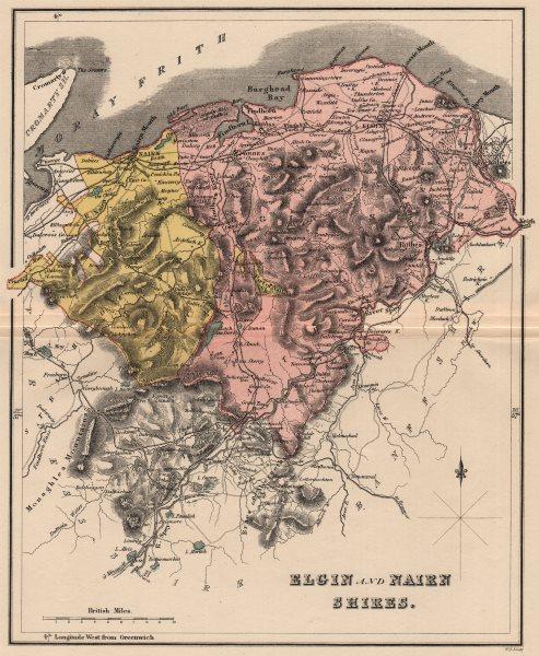 Associate Product SCOTLAND. Elgin Shire (County of Moray) & Nairn Shire. County map. LIZARS 1885