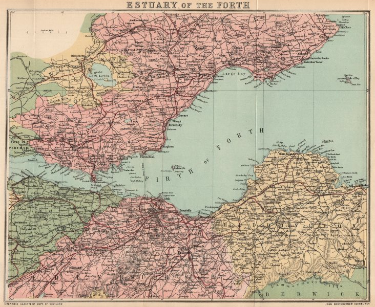 """Associate Product FIRTH OF FORTH. """"Estuary of The Forth"""". Scotland. BARTHOLOMEW 1885 old map"""