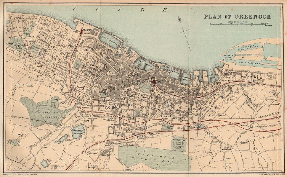 Associate Product GREENOCK. Antique town plan. Scotland. BARTHOLOMEW 1885 old map chart