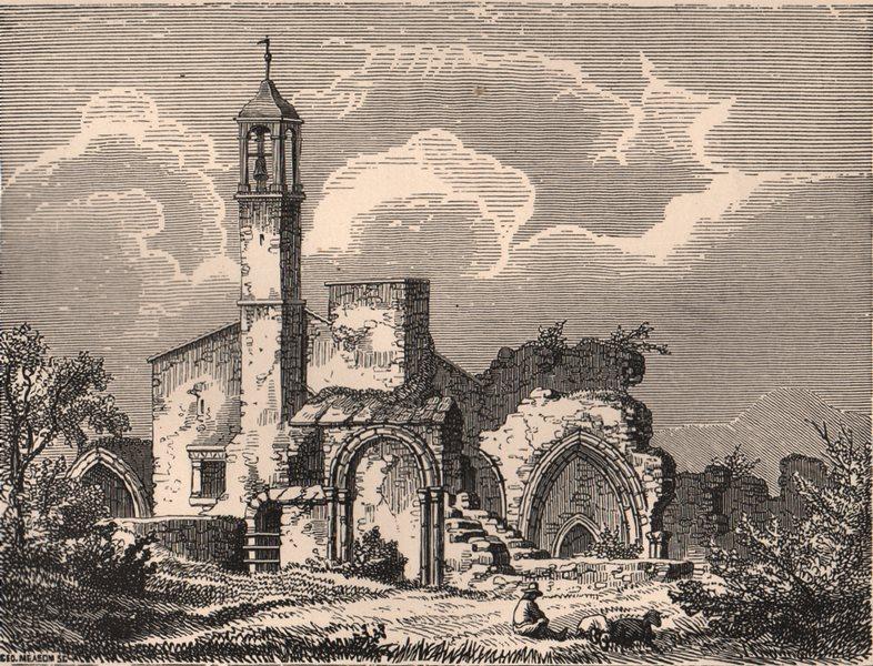 Associate Product BERWICKSHIRE. Coldingham Priory, prior to restoration of 1854. Scotland 1885