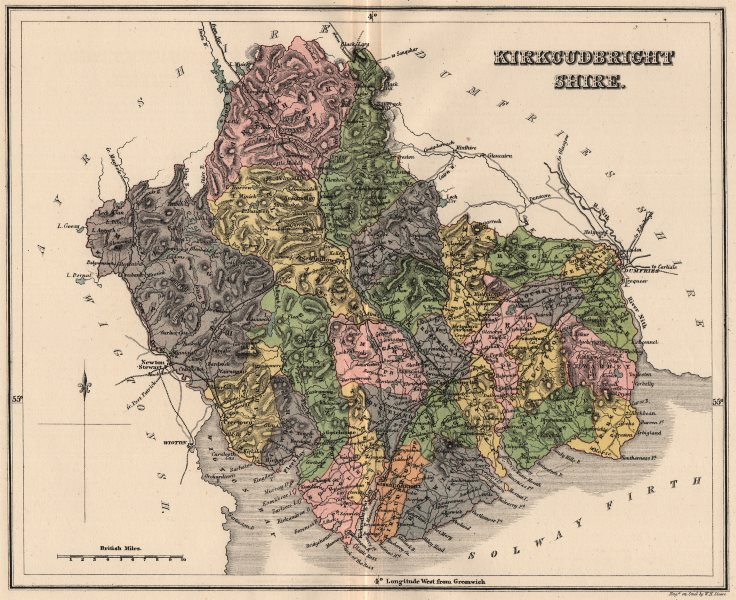 KIRKCUDBRIGHTSHIRE. Antique county map. Parishes. Dumfries Scotland. LIZARS 1885