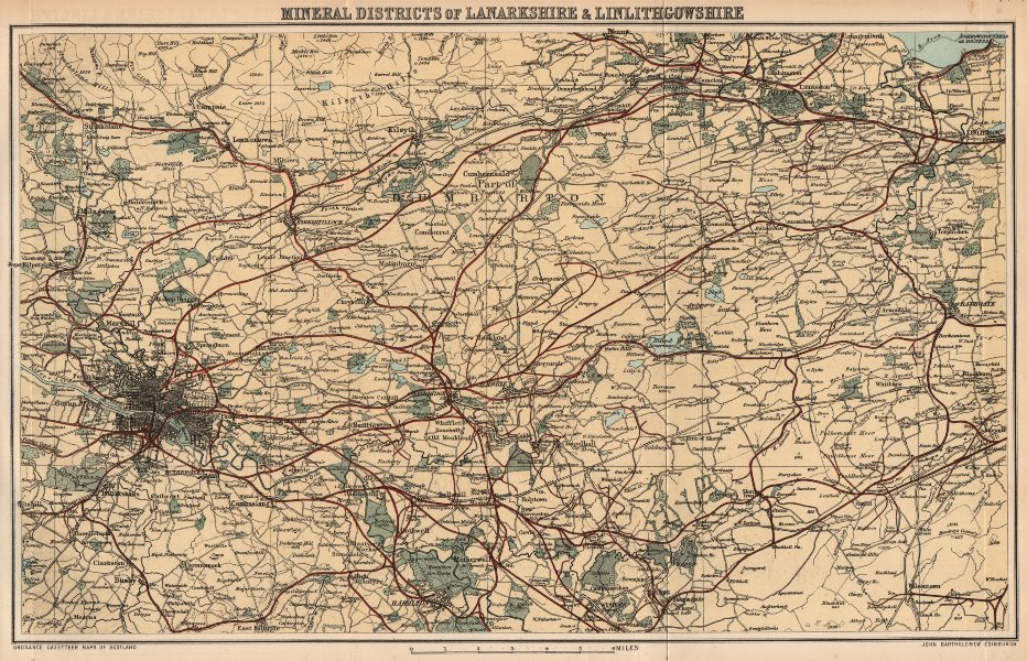 Associate Product LANARKSHIRE & LINLITHGOWSHIRE. Coal mining districts. Minerals.Scotland 1885 map
