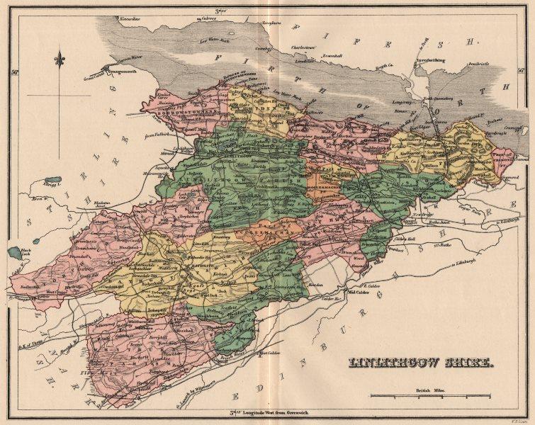 Associate Product LINLITHGOWSHIRE. Antique county map. Parishes. Livingston Scotland. LIZARS 1885