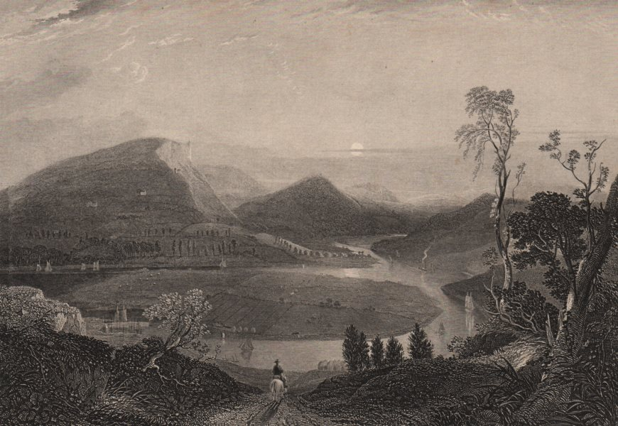 Associate Product SCOTLAND. River Tay & Kinnoul Hill &c. from East of Craigie 1885 old print