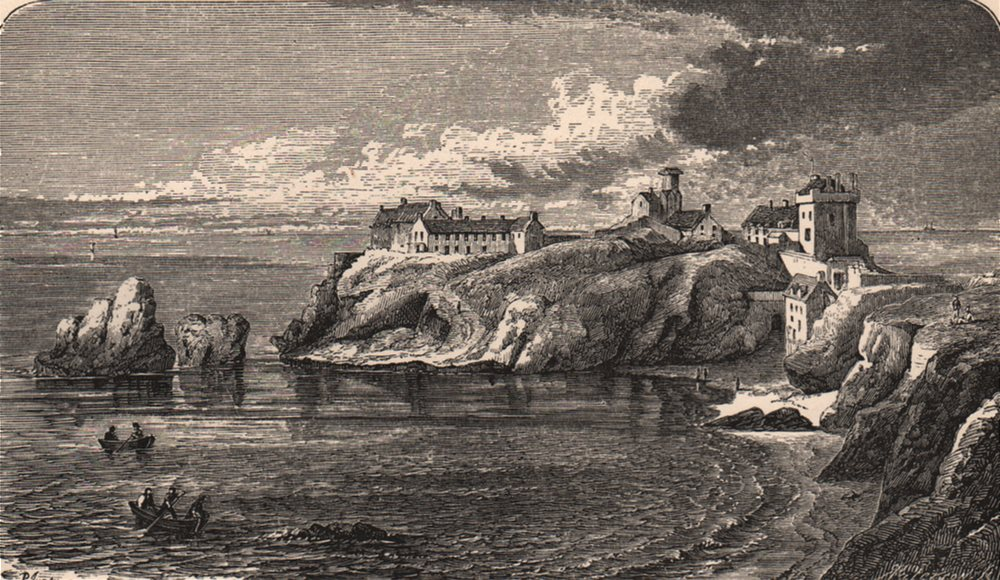 Associate Product KINCARDINESHIRE. Dunottar Castle, in the 17th century. Scotland 1885 old print