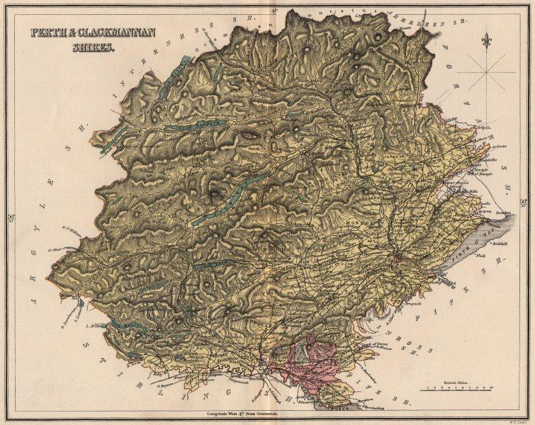 Associate Product PERTHSHIRE & CLACKMANNANSHIRE. Antique county map. Alloa. Scotland. LIZARS 1885