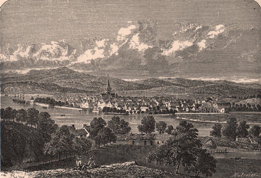 Associate Product PERTH. Town view in the 17th century. Scotland 1885 old antique print picture