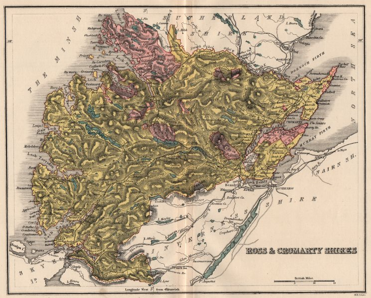 Associate Product ROSS-SHIRE & CROMARTYSHIRE. Antique county map. Scotland. LIZARS 1885 old