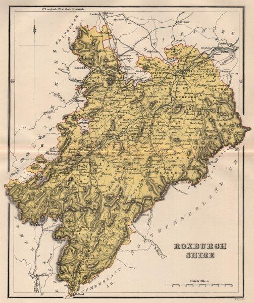 Associate Product ROXBURGHSHIRE. Antique county map. Scotland. LIZARS 1885 old chart