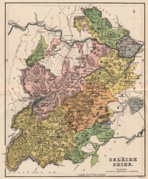 Associate Product SELKIRKSHIRE. Antique county map. Parishes. Scotland. LIZARS 1885 old