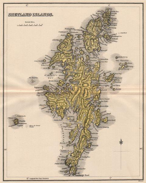 Associate Product SHETLAND ISLANDS. Antique map. Scotland. Lerwick. LIZARS 1885 old