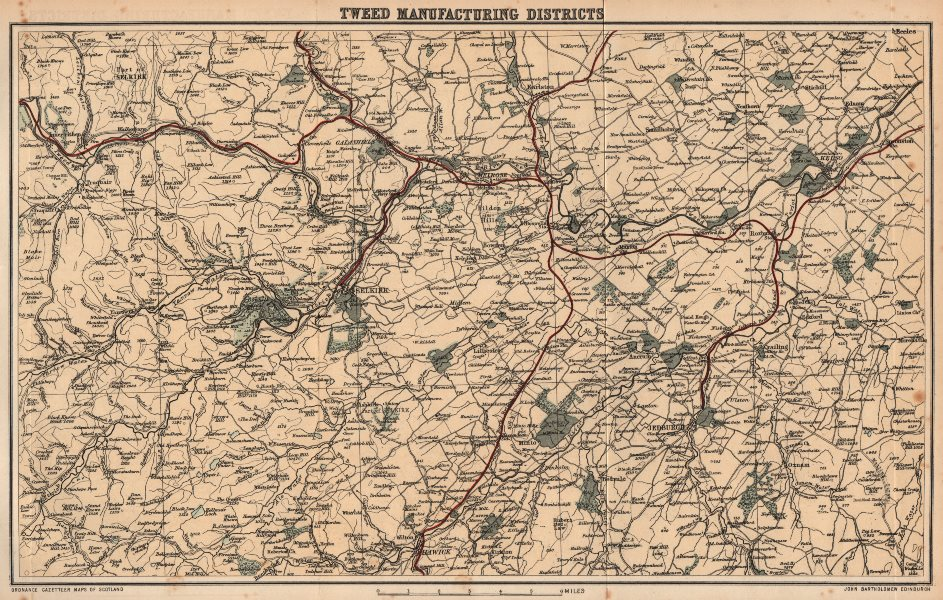 Associate Product SCOTLAND. Tweed manufacturing districts. Wool Textiles. Selkirk Melrose 1885 map