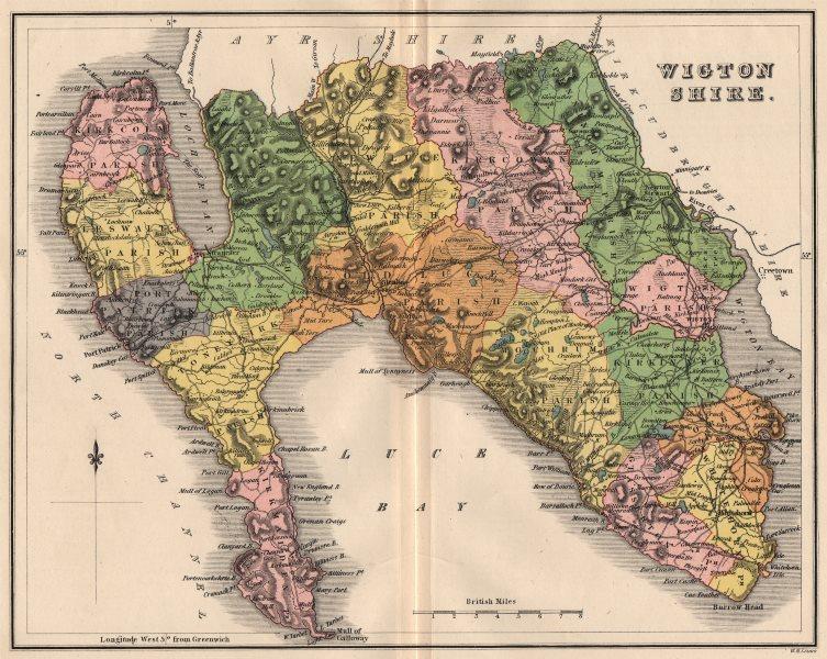 Associate Product WIGTONSHIRE. Antique county map. Parishes. Stranraer Scotland. LIZARS 1885