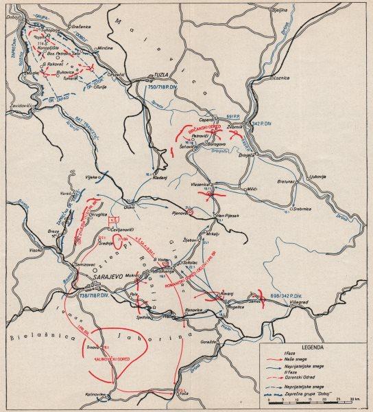 Associate Product BOSNIA HERZEGOVINA. Second Axis offensive January 1942. Tuzla Sarajevo 1957 map