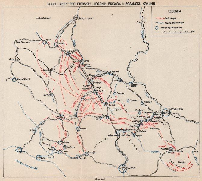 Associate Product BOSNIA HERZEGOVINA. Proleterskih. Bosnian Krajina brigade.Sarajevo 1942 1957 map